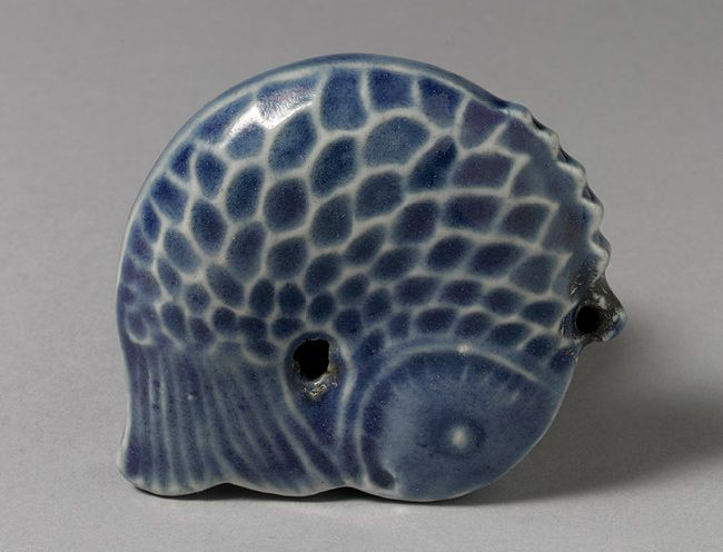 Water dropper in the shape of a fish, Joseon dynasty (1392–1910), late 19th century  Korea  Porcelain painted with underglaze cobalt blue