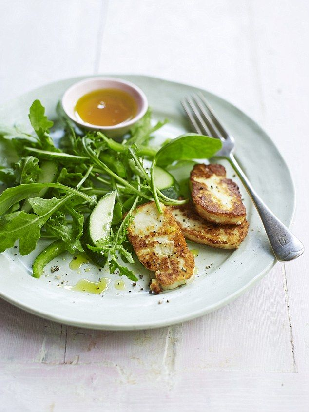 Grilled Halloumi Salad-- get recipe here: http://www.dailymail.co.uk/femail/food/article-3672595/Cut-carbs-quit-sugar-feel-fabulous-s-food-revolution-ll-make-slimmer-happier-s-blissfully-simple.html