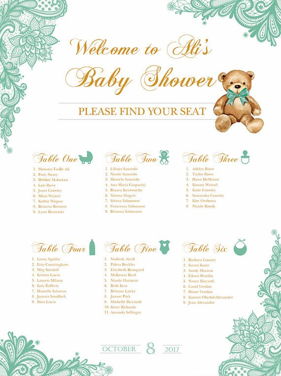 Baby Shower Seating Chart Board Mint Green LACE Printed Guest List Template Any Color SCW0021 In 2019