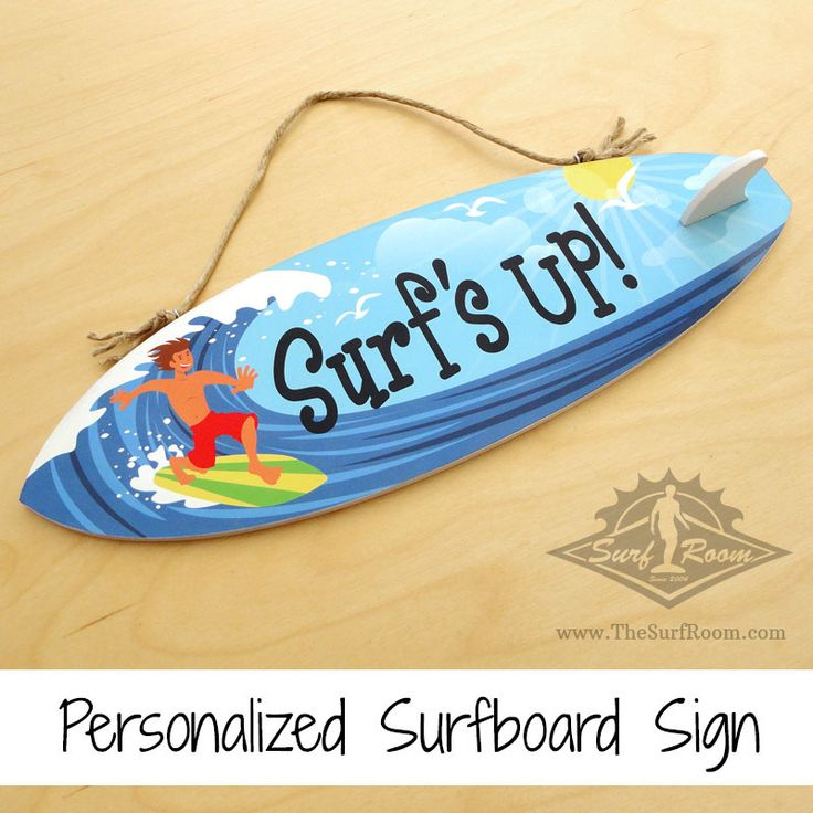 Surfer dudesurfboard surfer sign is a awesomeway to personalize your kids surf room, beach themed bedroom or nursery. Add a wave of color to your surf decor with this colorfulcustom madesurfboard surfer sign that ispersonalized with your child's name. Our personalized surfboard signs come with a surfboard fin to give it that authentic surfboard look....