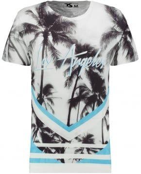 Mens Grey LA Chevron Palms Print T-shirt
