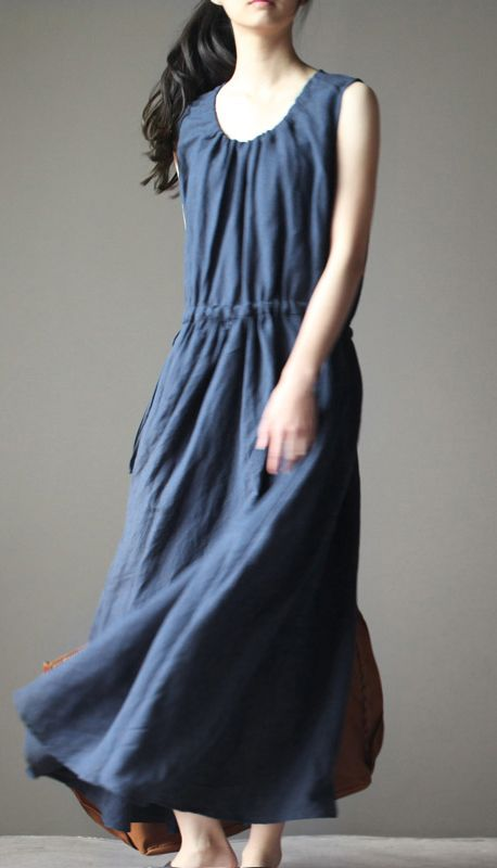 A modern style linen summer maxi dress. Low neck linen and drawstring waist. Suitable for both a slim and plus size girl.  2016 New navy linen summer maxi dress linen sundress casual holiday dresses