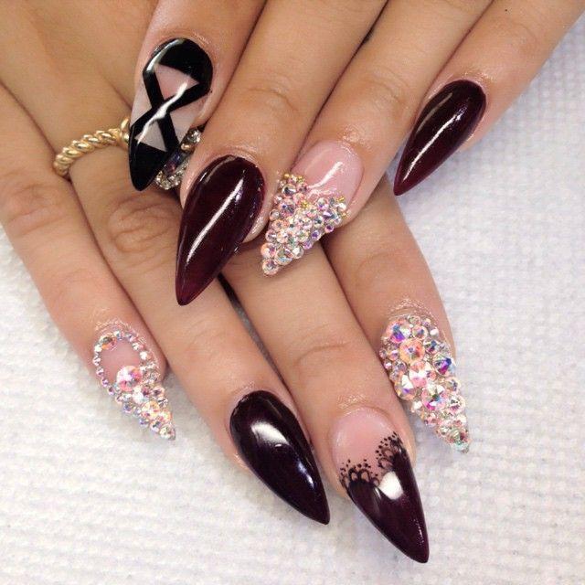 beautiful bling stiletto nails
