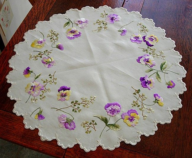Em's Heart Antique Linens -Antique Society Silk Embroidered Doily Centerpiece~My grandmother loved pansies, and loved to embroider...therefore, this reminds me so much of her!