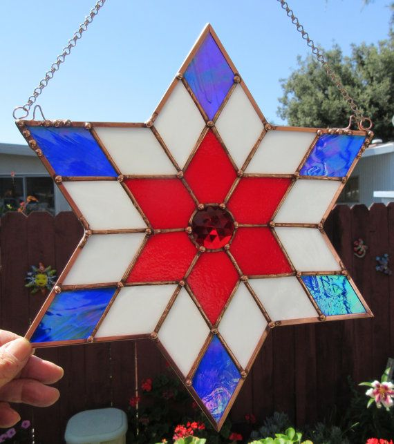 Stained Glass Patriotic 6 Pointed Star Red by JuliaLouiseShop