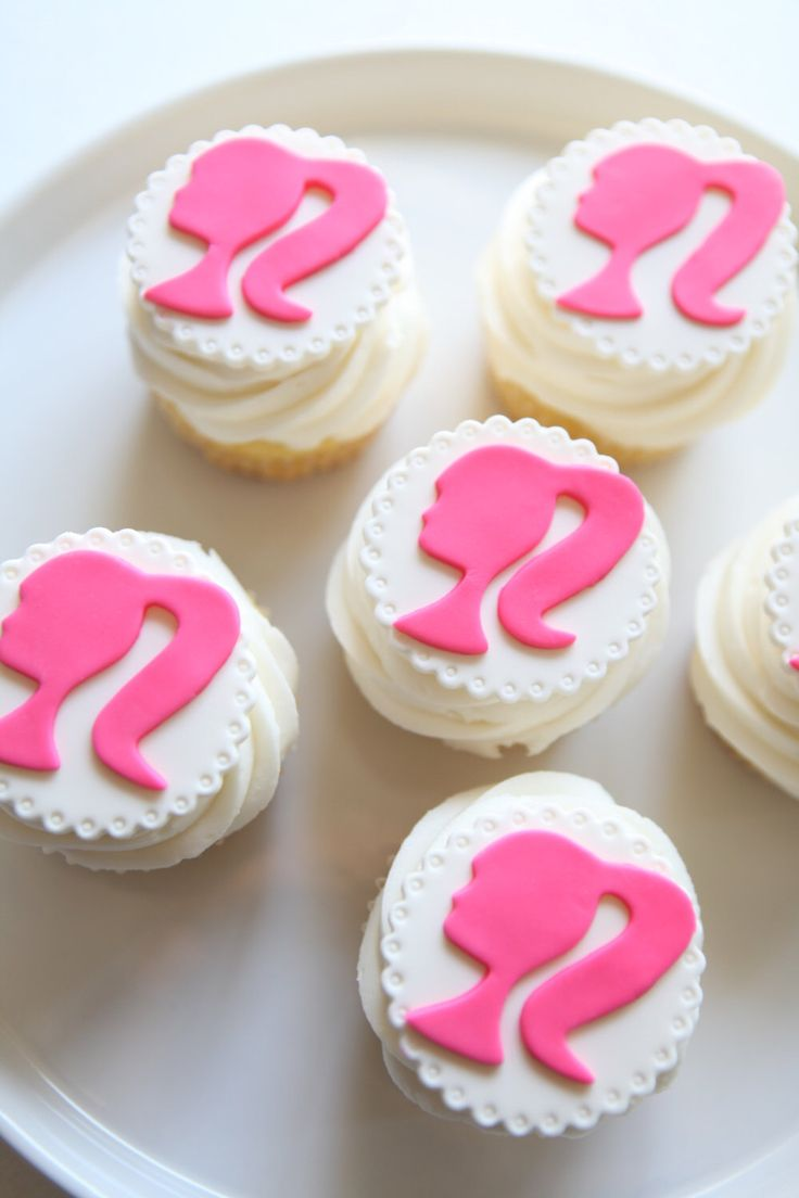 Barbie Cupcake Toppers | Fondant by MilkandHoneyCakery on Etsy https://www.etsy.com/listing/247283618/barbie-cupcake-toppers-fondant