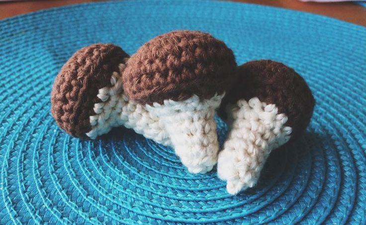 Crochet mushrooms.<3