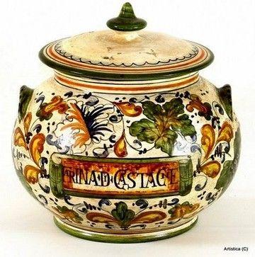 MAJOLICA CAFFAGIOLO: Small Tureen ''Farina Di Castagna'' (Chestnut Flour) - mediterranean - Serveware - Artistica Italian Gallery