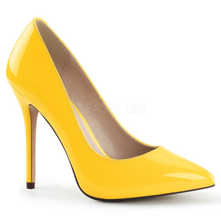 "Pleaser Amuse 20 5"" Stiletto Heel Neon Yellow Court Shoes with Hidden Platform"