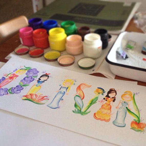 Princess Name Painting custom by SeyStudios on Etsy