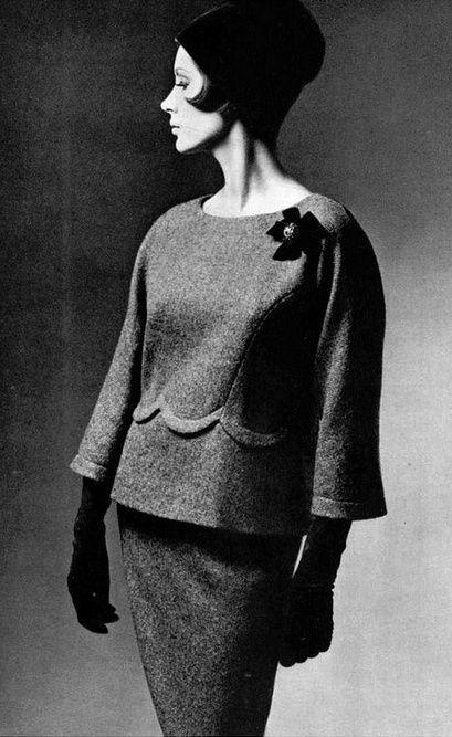 1960  elegant gray wool two-piece by Pierre Cardin