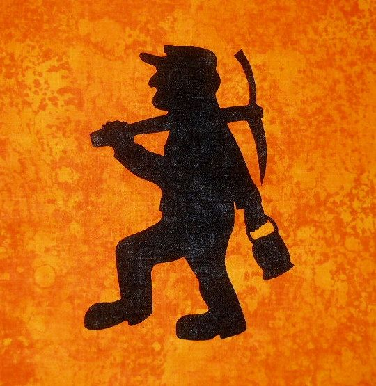 Miner Silhouette Quilt Applique Pattern Design Coal Miner