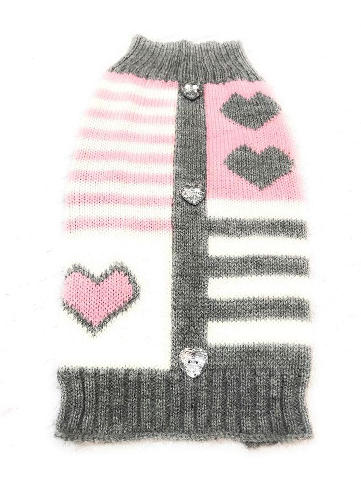 Dog Sweater Size XS Pet Puppy Clothing Apparel Grey Stripe Heart Patchwork    eBay