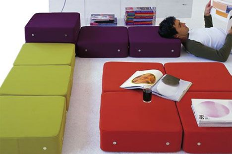 Modern Pillow Fort : More than floor pillows - fun for kids but also entirely useful for adults. Small magnetic ...