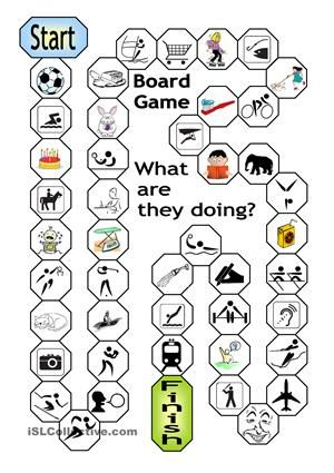 With this board game, learners will practise the PRESENT CONTINUOUS in an enjoyable way. Every square provides a picture clue (focus on SPORTS and daily routine). Every time a correct answer is given, the game can be used as a communicative activity whereby players ask each follow-up questions. Let´s make learning fun! - ESL worksheets