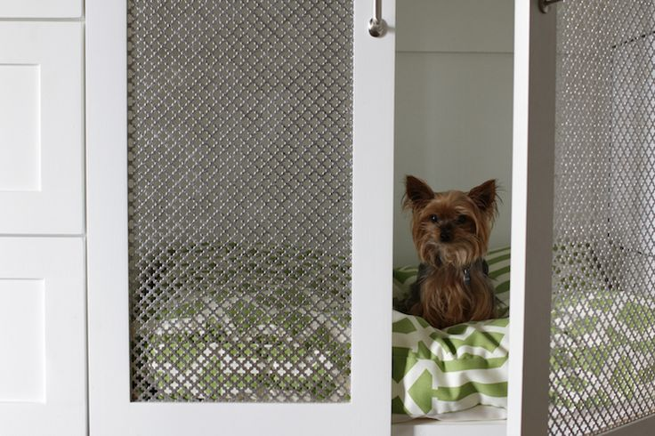 Metal screen      Brown Eyed Fox - laundry/mud rooms - dog bed, dog crate, built in dog bed, built in dog crate, chicken wire doors, shaker cabinets, white sh...