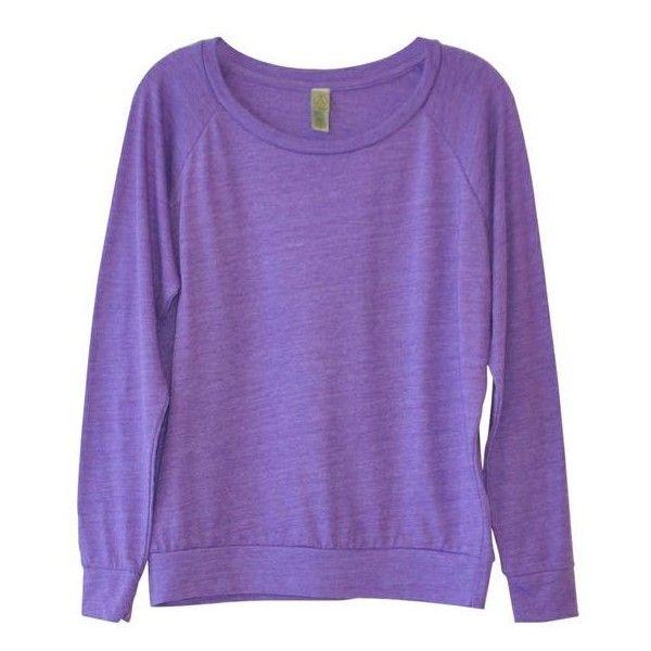 Alternative Apparel Slouchy Sweatshirt in Purple ($25) ❤ liked on Polyvore featuring tops, hoodies, sweatshirts, shirts, sweaters, jumpers, slouchy sweatshirt, long sleeve raglan shirt, purple top and sleeve shirt