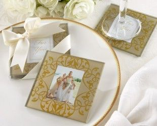 """Golden Brocade"" Elegant Glass Photo Coasters http://www.1weddingsource.com/store/index.php/golden-brocade-elegant-glass-photo-coasters"