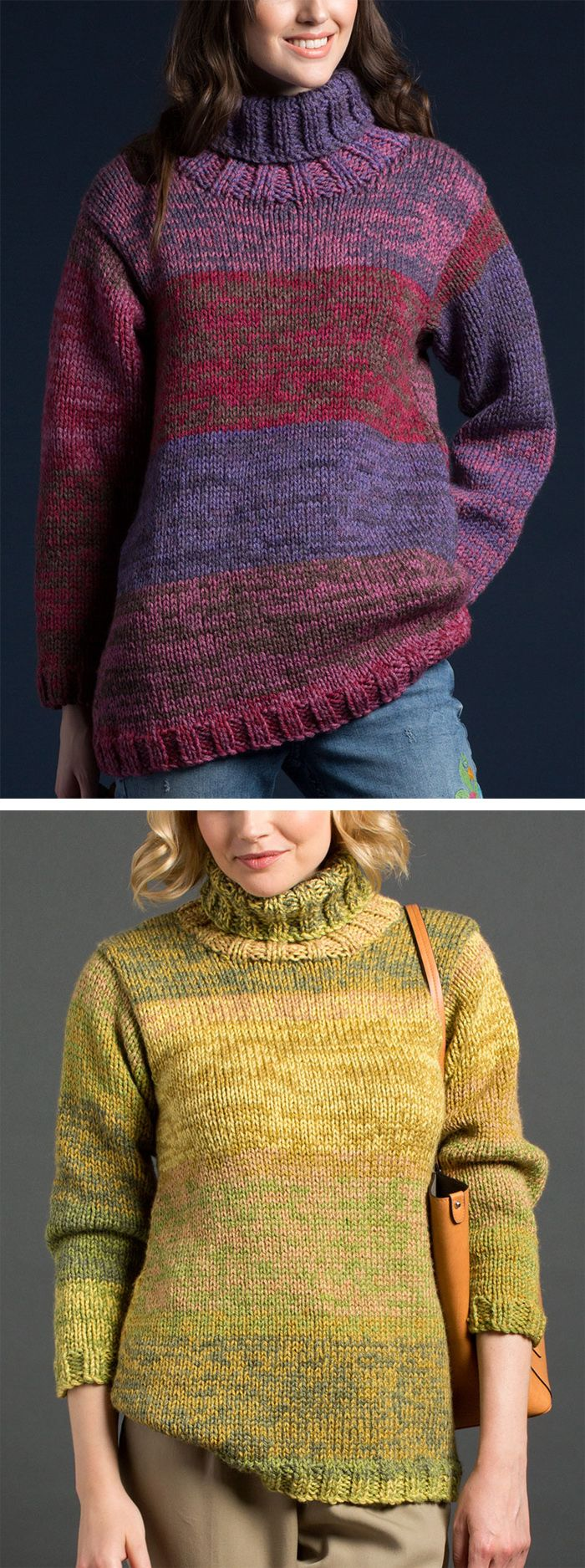 Free Knitting Pattern for Easy On The Double Pullover - Quick easy long-sleeved sweater is knit in stockinette and rib using two strands of worsted weight yarn. The gradient color is achieved by using multi-colored yarn with the colorways staggered for contrast. Sizes XS to 5XL. The pattern does require picking up some stitches on part of the neckline.