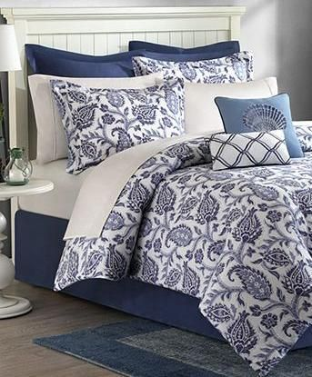 Navy Blue White Palampore 8p Floral Comforter Set Queen