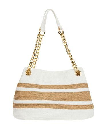 Chain Shoulder Stripe Shoulder Bag, Main View