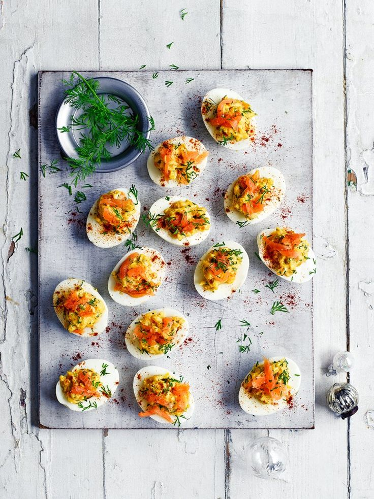 Salmon devilled eggs