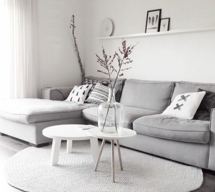 Grey Corner Sofa White Walls White Wooden Coffee Tables Gray And White Living Room Living Room Decor Gray Living Room Decor Apartment Home