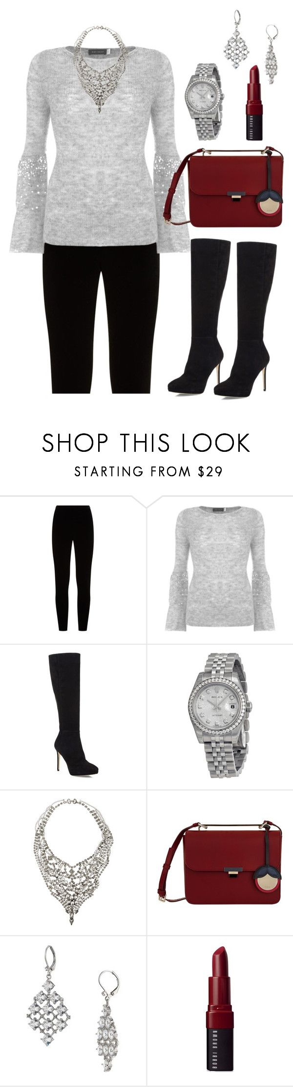 """""""Christmas Eve 2017 Look"""" by sonyastyle ❤ liked on Polyvore featuring Eileen Fisher, Mint Velvet, Jimmy Choo, Rolex, Tom Binns, Furla, Carolee, Bobbi Brown Cosmetics, Christmas and polyvoreeditorial"""