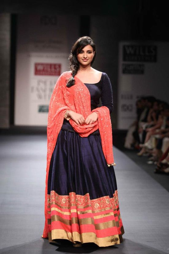 Manish Malhotra Color Combination Coral And Navy