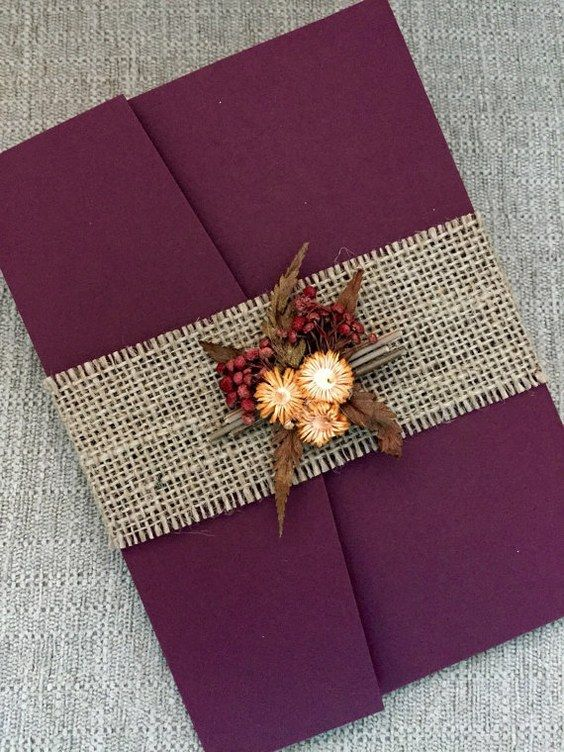 Burgundy Autumn Wedding Invitation Suite with burlap belt and dried flowers bouquet