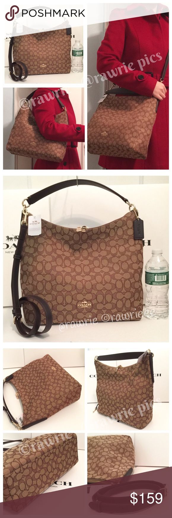 """SALE New Coach signature shoulder hobo Crossbody 100% authentic Coach slouchy celeste hobo. Signature khaki brown jacquard fabric with dark brown leather trim. Gold tone hardware. Zip top closure and fabric lining. Inside zip and slip pockets. Single handle drops up to 9"""" with slouch. Longer detachable and adjustable strap for shoulder and crossbody wear. Measures 12"""" (L) x 12"""" (H) x 5"""" (W). Brand new with tags. Comes from a pet and smoke free home. Coach Bags Hobos"""