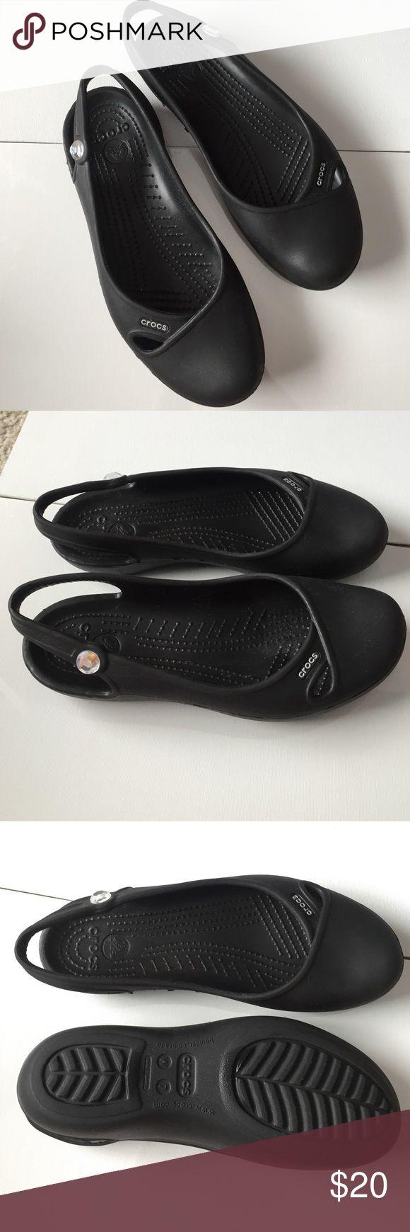 Black Sling Back Crocs Gem Stone on the side of each shoe CROCS Shoes Flats & Loafers