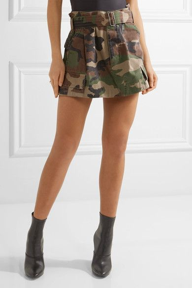 Marc Jacobs - Camouflage-print Cotton-twill Mini Skirt - Army green - US10