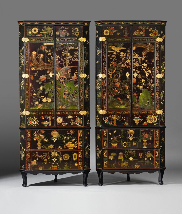 Furniture In China: Ormolu Mounted Lacquered Corner Cabinets., The Lacquer