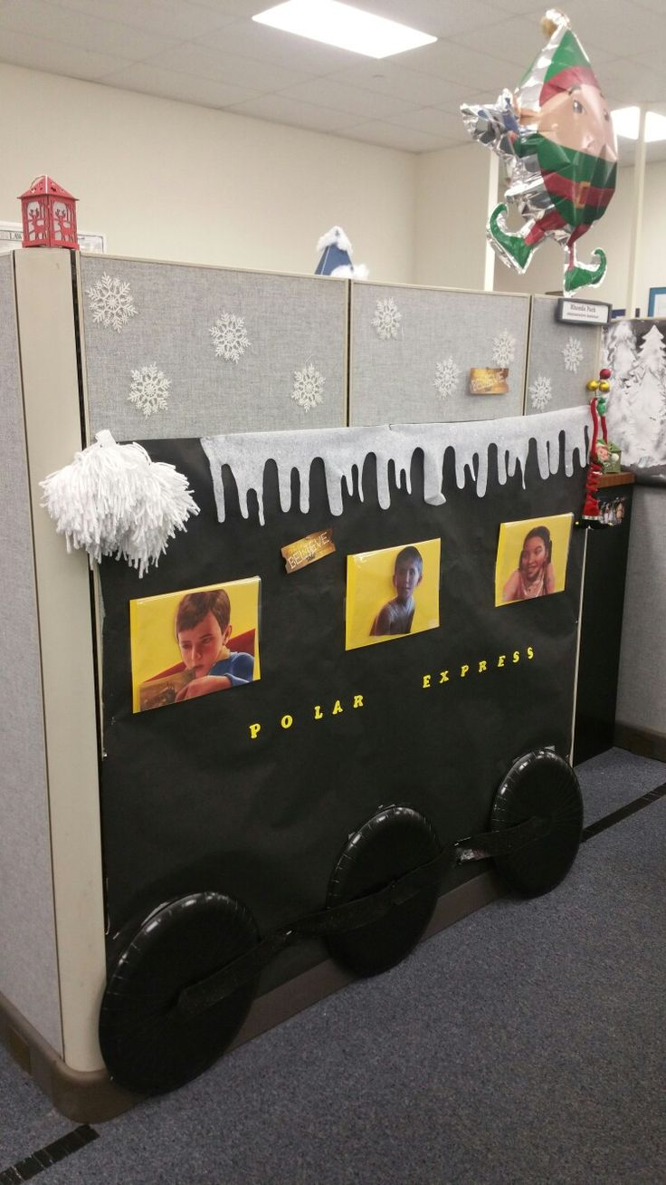 Polar express decorating cubicles at work for christmas for Cubicle decoration xmas