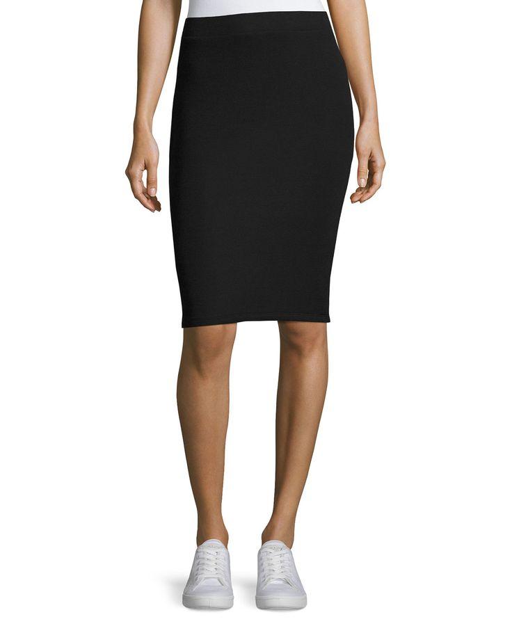 Pull-On Knit Tube Skirt, Black