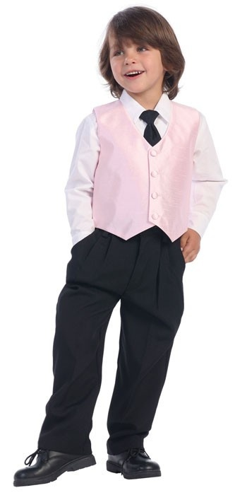 Lito 4 Piece Suit Poly Silk Vest and Black Pants, Shirt and Tie $38.85  Adorable formal wear from Lito. Poly silk vest with black pants, black tie, and white shirt. This outfit is proudly made in the USA.  Sizes: M, L, XL, 2T, 3T, 4T, 5, 6, 7  Colors: Lilac, Black, Light Blue, Purple, Pink, Silver