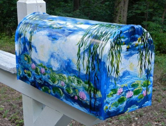 Hand Painted Mailbox with Monet's WATER LILIES -Designer Post style Mailbox