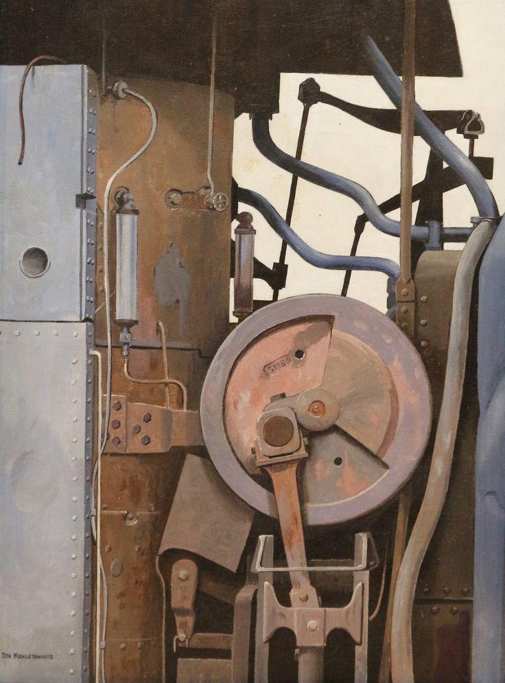 Don Micklethwaite (British 1936-): Industrial Steam Pump, oil on board signed 47cm x 35cm DDS - Winter Art Sale £200 - £300