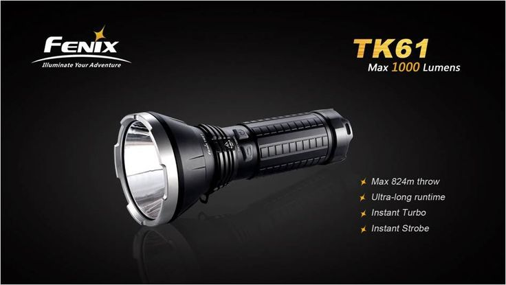 This flashlight features an Ultra Long-Reach Power from a 1000 Lumens Flashlight: The Rechargeable TK61 from Fenix is their Longest Beam Throw LED Flashlight to date.   This handheld searchlight is scaled for Ultra Long Reach, and extended Runtime. Utilizing a Cree XM-L2 U2 LED, this handheld torch  gives a maximum throw distance of 824 metres!