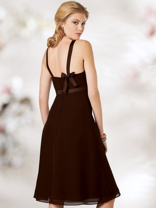 A-line/Stile Principessa Scoop Knee-length Chiffon Bridesmaid Dress