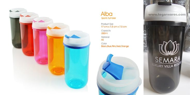 Sports Tumbler tipe Alba, kapasitas 350ml, size: 17 x 7.5cm x 7.5cm Comes in five different colors bright clear, tumbler type of Alba suitable as merchandise or souvenirs for housing developers, villas, resorts or other exclusive occupancy. Can also be used as a birthday gift children or event-themed merchandise for young children. As the picture above Alba type plastic tumbler order Semara Luxury Villa Resort, Ungasan Badung, Bali. Indonesia.