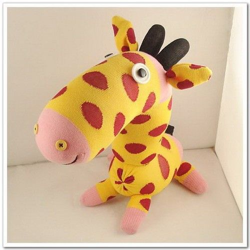 handmade sock giraffe stuffed animal doll baby toys via etsy nursery ideas. Black Bedroom Furniture Sets. Home Design Ideas