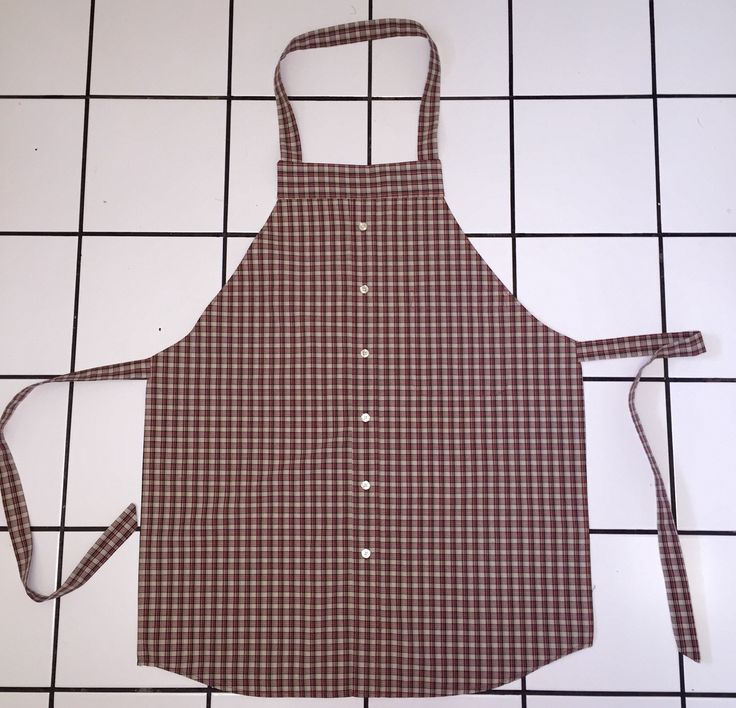 Mans apron made from recycled dress shirt.