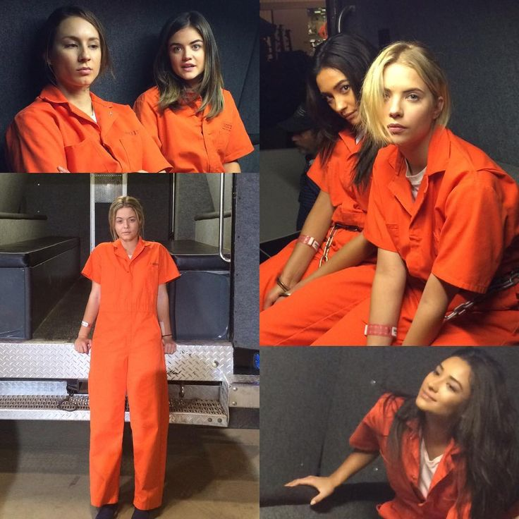 The Liars even make prison orange jumpsuits look fashionable. Aria, Hanna, Emily, Spencer and Alison. #PLL Pretty Little Liars