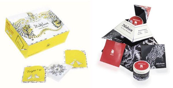 Izq. Condones para chicas tímidas. Diseño: Irene Song / Der. Enciende el fuego, contiene lubricante y condones para las parejas de mediana edad. Diseño: Vannessa Blea