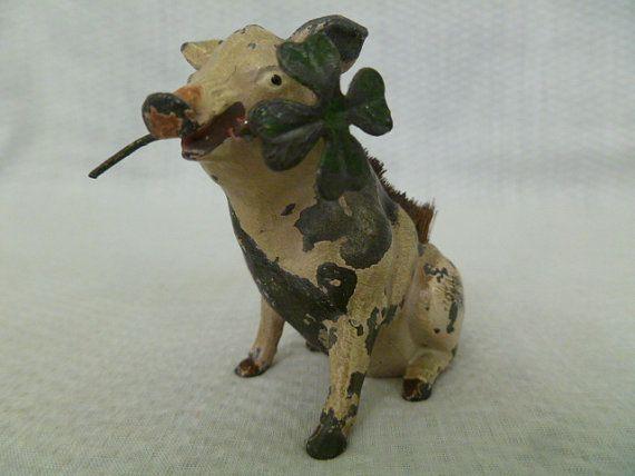 Antique Painted Figural Pig Pen Wipe By Fairchildsinc On
