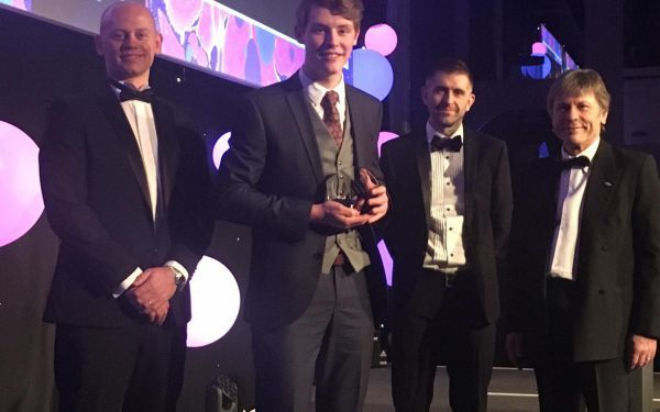 Bruce Dickinson at the National Skills Academy for Nuclear Awards with Sellafield apprentice awards winner Jack Riley.