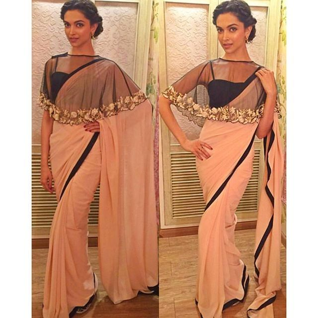 2085198a5fd Deepika Padukone In Light Pink Designer Saree at Kapil Show