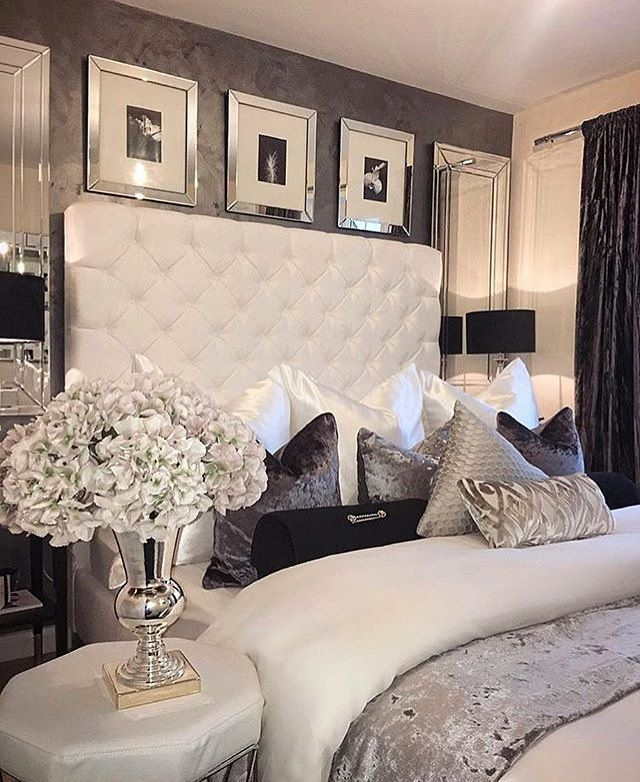 Hollywood Glam Bedroom On A Budget New Luxury Bedroom Mirrored Elements Upholstered Headboard Luxurious Bedrooms Luxury Bedroom Master Luxury Bedroom Design